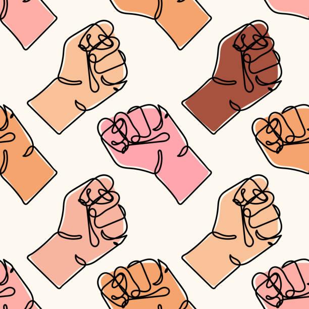 벡터 원활한 패턴다른 색깔의 인간의 손으로. 강한 주먹의 연속 라인 드로잉. 꽉 쥐고 있는 팔로 팔을 움켜쥐었다. 흑인의 삶은 중요합니다. 인권을 위한 투쟁의 개념. 인종차별을 막아라 - 사회 정의 stock illustrations