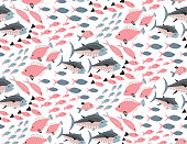 Vector seamless pattern with different colorful exotic fish. Marine life, underwater world, modern design for wrapping, textile, print