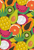 Vector seamless pattern with different tropical exotic fruits and brries in flat simple style. Colorful fresh summer endless background for print, textile, wrapping paper