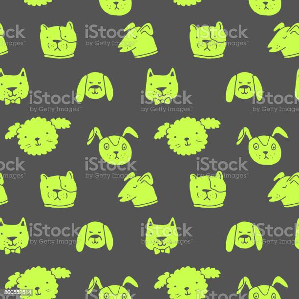 Vector seamless pattern with dogs hand drawn ink illustration sticker vector id860552514?b=1&k=6&m=860552514&s=612x612&h=rds9ft6quu8tisdvsppb8qsnx87xohfbrejum8dzfcm=