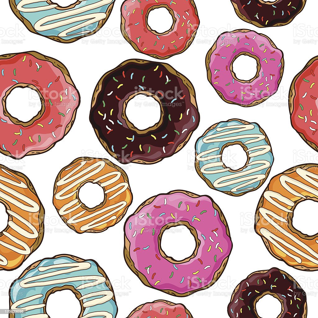Seamless pattern with donuts royalty-free stock vector art
