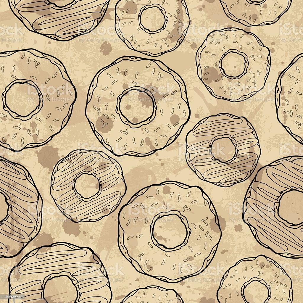 Seamless pattern with donuts vector art illustration