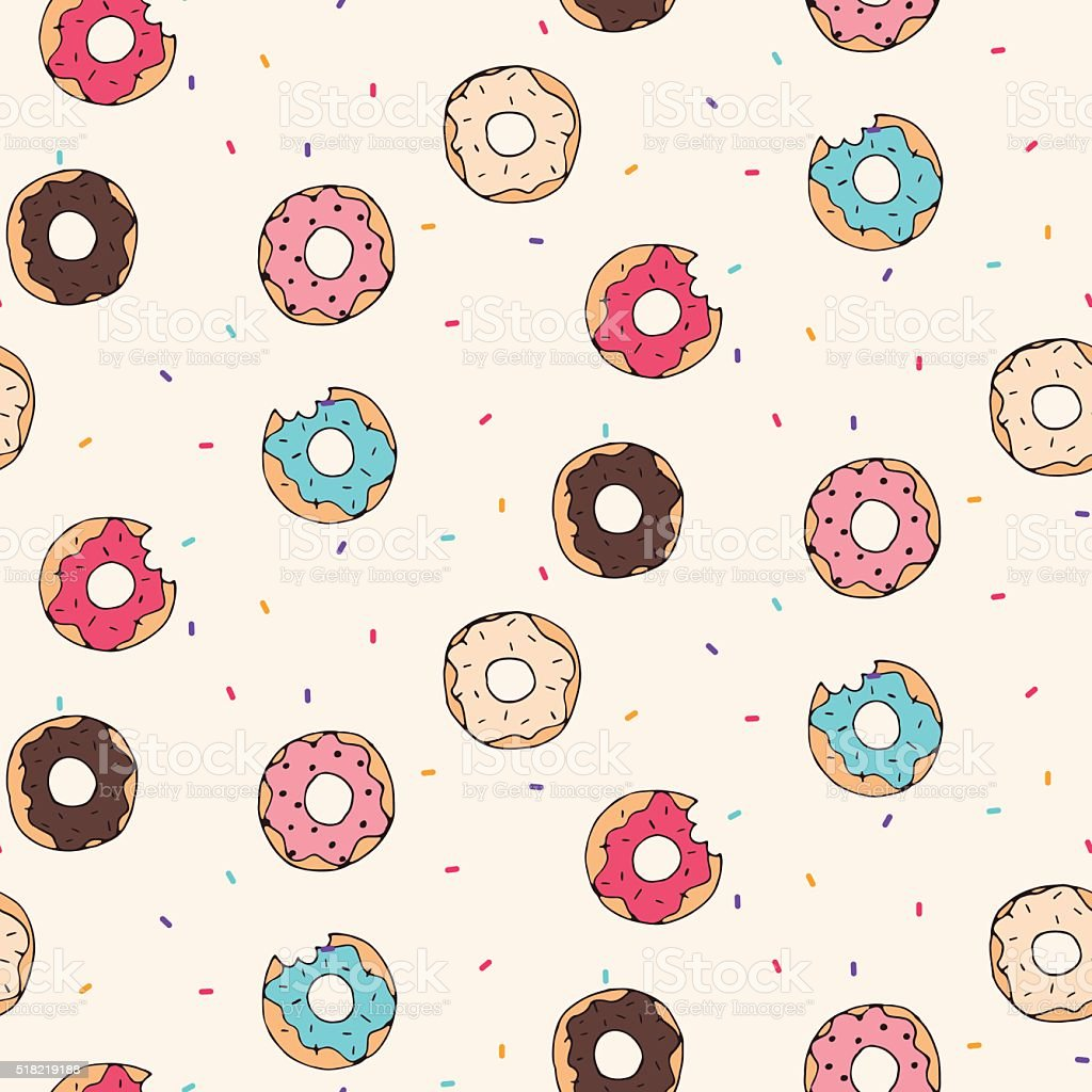Vector seamless pattern with donuts vector art illustration