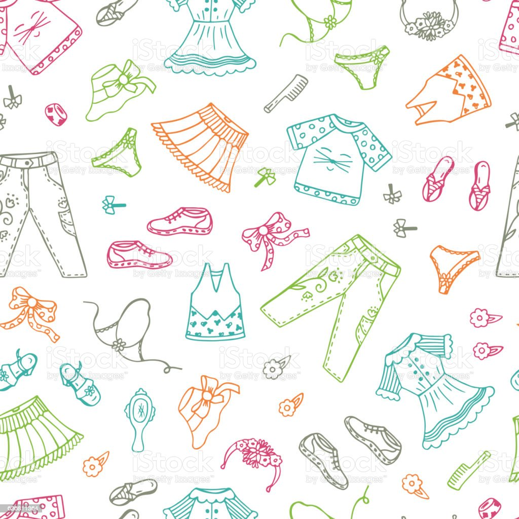 59aaf80151ad Vector Seamless Pattern With Doodle Clothes And Accessories Little ...