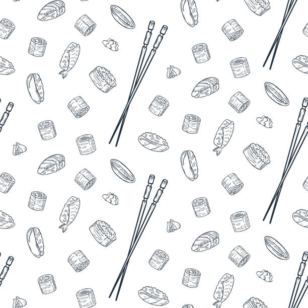 vector seamless pattern with doodle sushi. engrave asian food. - sushi stock illustrations