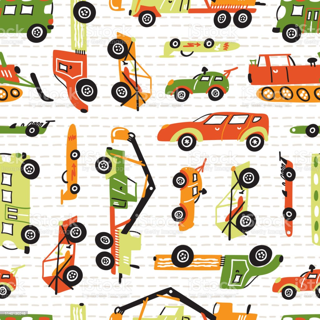 Vector Seamless Pattern With Doodle Toy Racing Cars Heavy