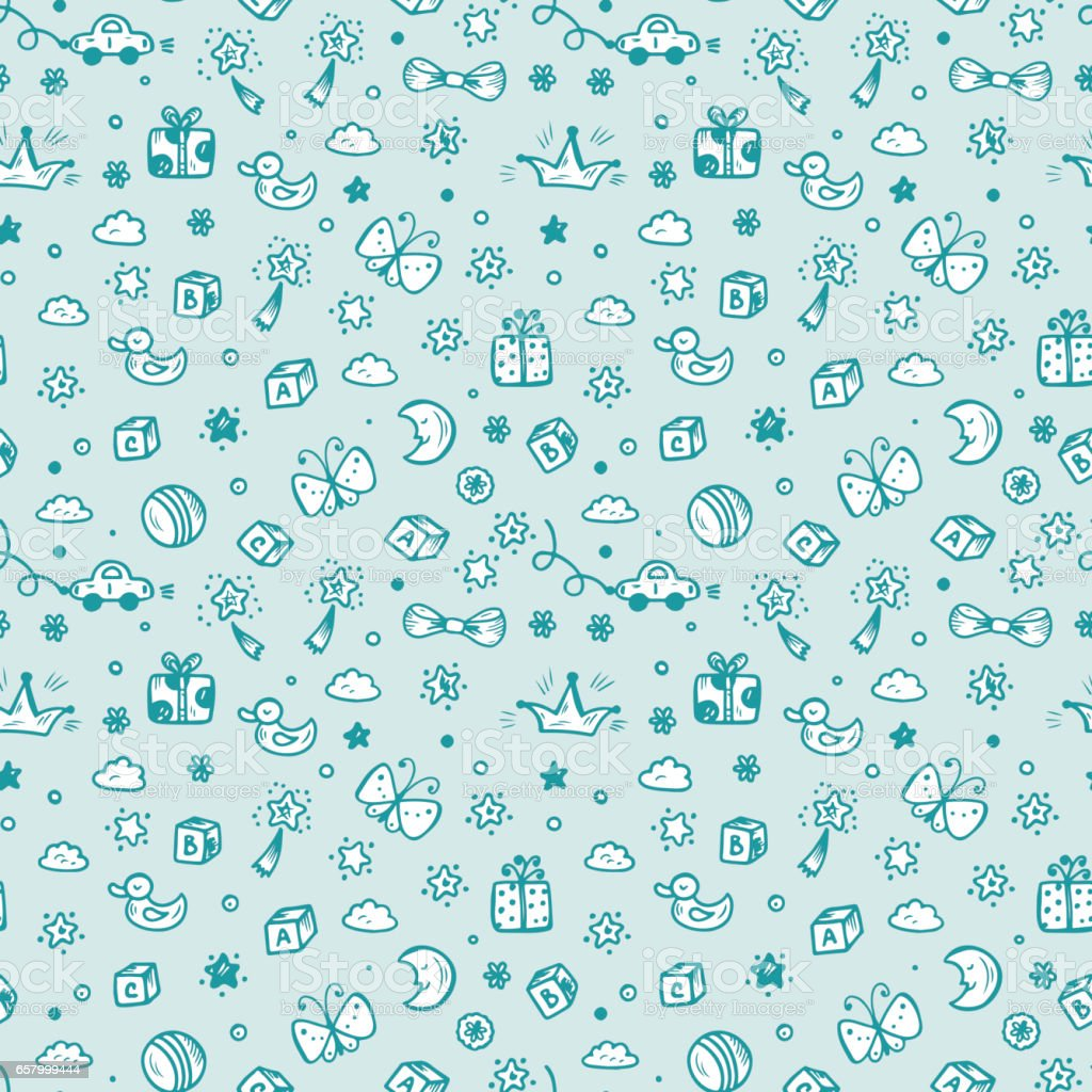 Vector Seamless Pattern With Doodle Toys Kids Background Childhood