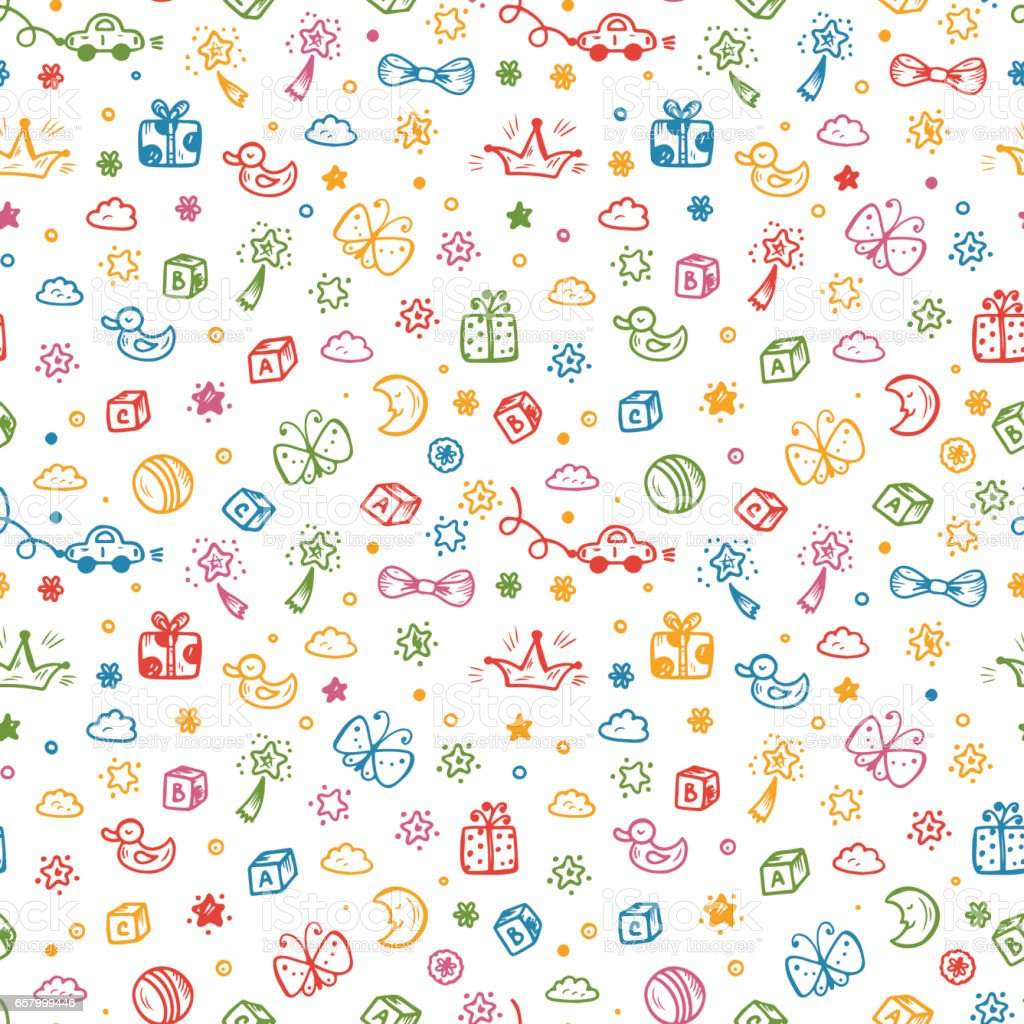 vector seamless pattern with doodle toys kids background
