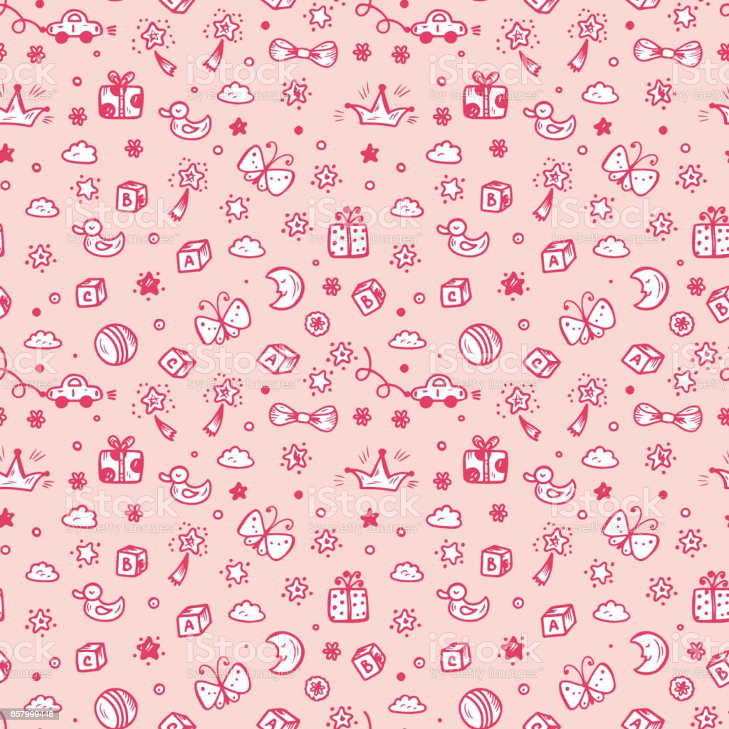 Vector Seamless Pattern With Doodle Toys Kids Background Childhood Wallpaper Royalty Free