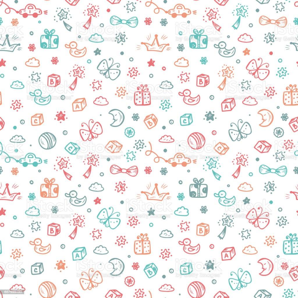 Ilustración de Patrón Transparente De Vector Con Doodle Juguetes ...