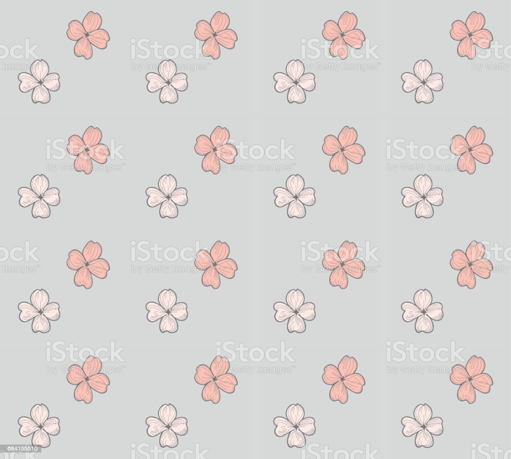 Vector Seamless Pattern with Drawn Flowers, Blossom royaltyfri vector seamless pattern with drawn flowers blossom-vektorgrafik och fler bilder på beskrivande färg