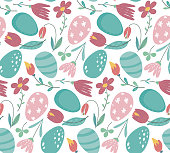 Vector seamless pattern with Easter eggs and spring flowers. Beautiful endless background