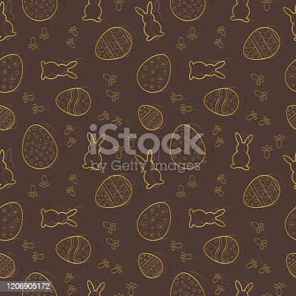 istock Vector seamless pattern with Easter motifs on a brown background. Rapport 1206905172