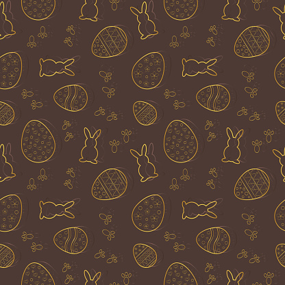 Vector seamless pattern with Easter motifs on a brown background. Rapport