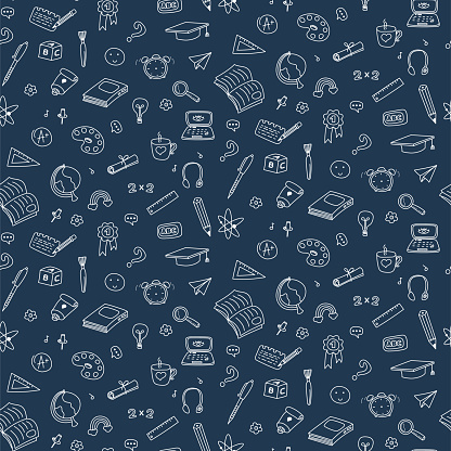 Vector seamless pattern with education back to school icons. Doodle student dark background.