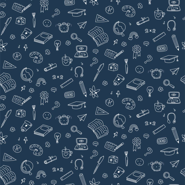 Vector seamless pattern with education back to school icons. Doodle student dark background. Vector seamless pattern with education back to school icons. Doodle icons student dark background. school background stock illustrations