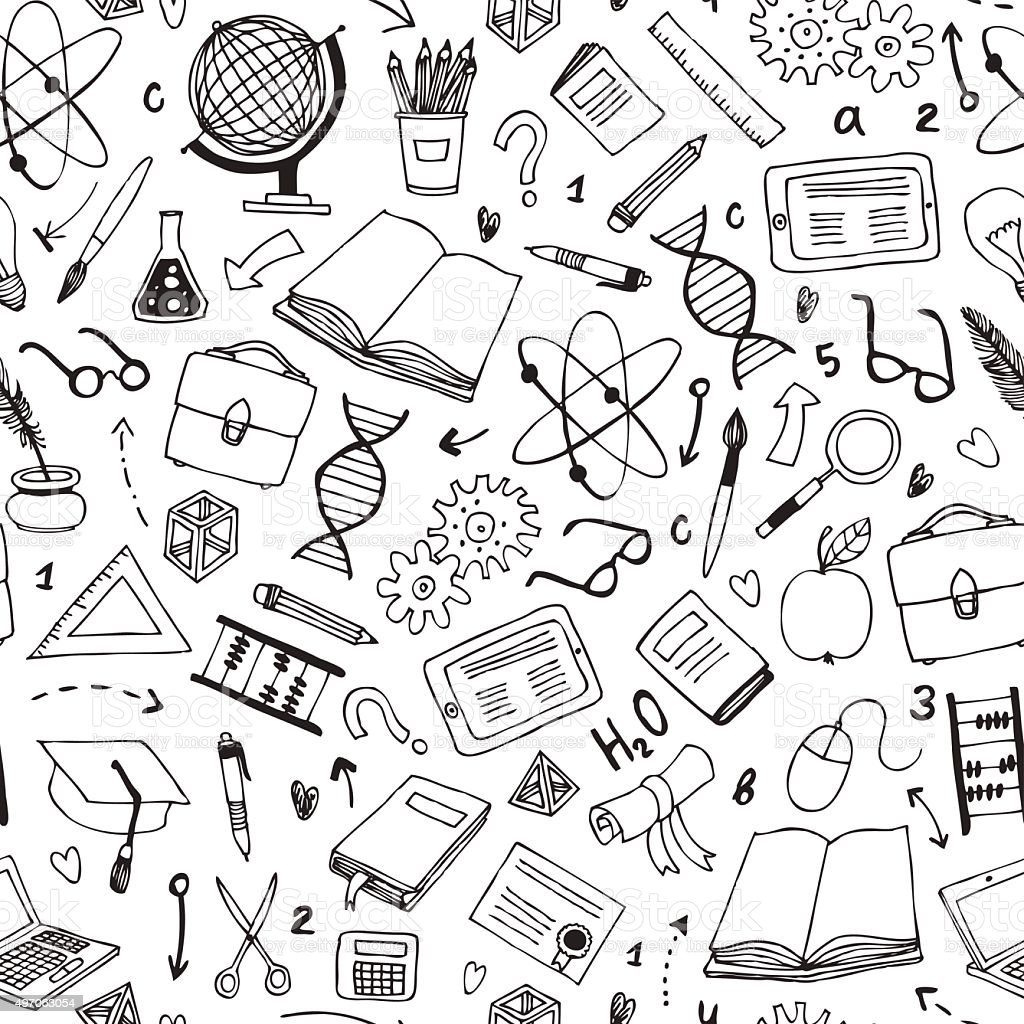 vector seamless pattern with education items vector art illustration