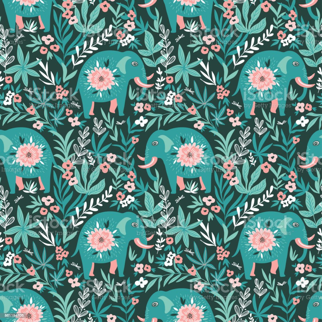 Vector seamless pattern with elephants in the jungle. Tropical background for fabric or wallpaper boho design. vector art illustration