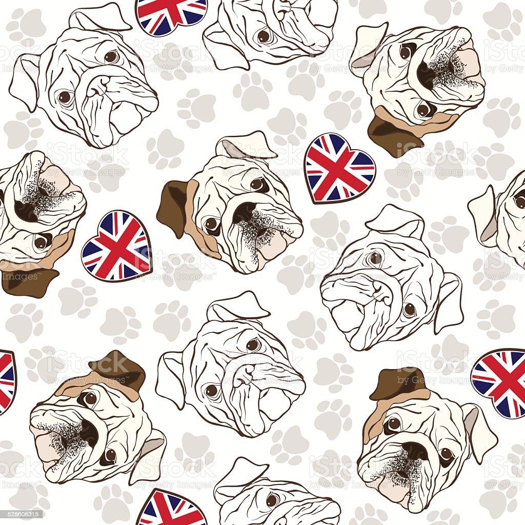 Ilustración de Patrón Sin Costuras Vector Con Bulldog Inglés Trazos ...