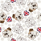 Vector seamless pattern with English Bulldog, traces  and Heart flag.
