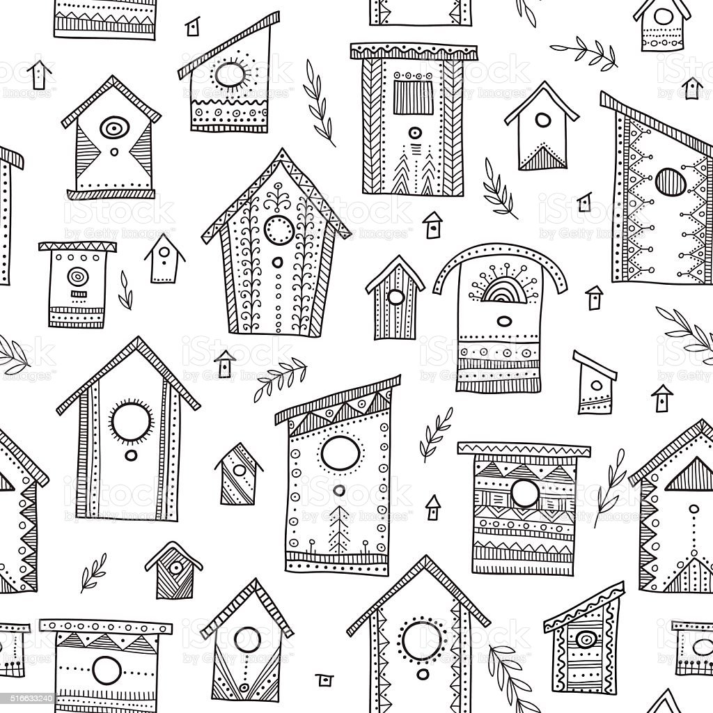 Vector seamless pattern with ethnic bird houses. vector art illustration