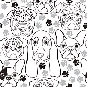 Vector seamless pattern with faces dogs and traces. Monochrome background.