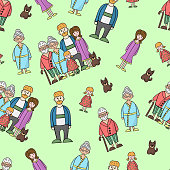 Vector seamless pattern with family members: grandma, grandpa, mom, dad, daughter, dog on a green background