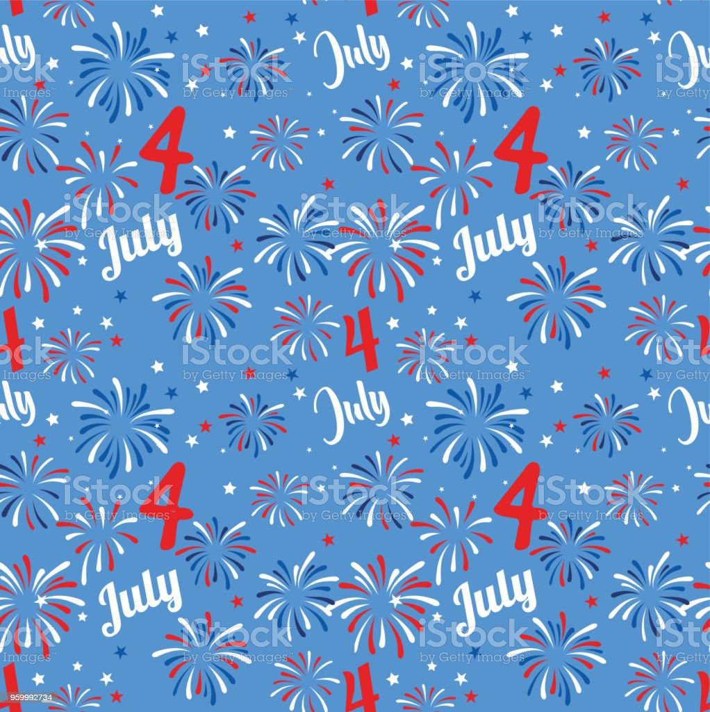 Vector seamless pattern with fireworks. National colors of the United States. American flag,stars and stripes. Use for celebration of independence day, party decoration,surface texture vector art illustration