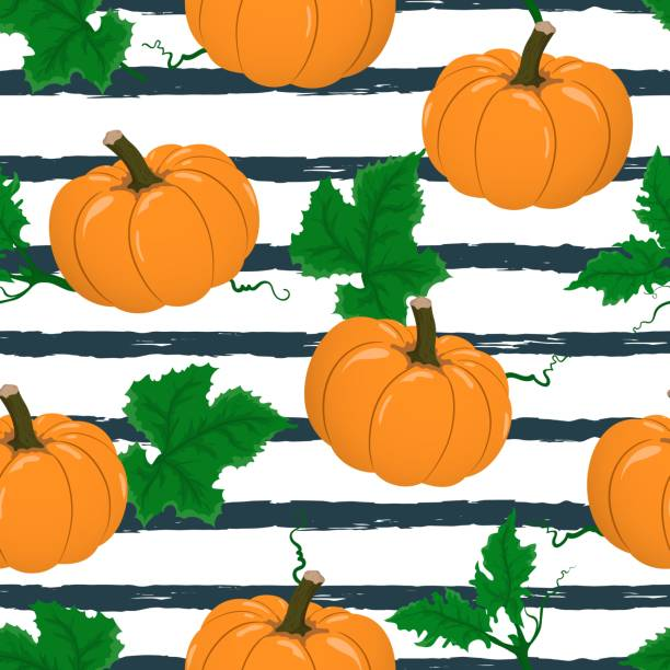 vector seamless pattern with flat cartoon pumpkins on dark blue stripped background. hand drawn autumn orange pumpkin cute background for harvest festival, design, print, paper, thanksgiving day. - stripped pattern stock illustrations, clip art, cartoons, & icons