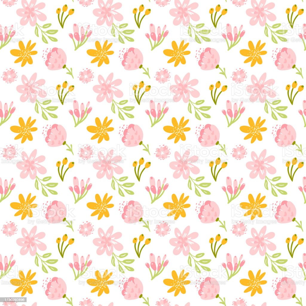 Vector Seamless Pattern With Flat Flower Bouquet And Leaves Cute