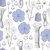 istock Vector seamless pattern with flax  plant flowers. Flax  yarn. 1205014057