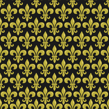 Vector seamless pattern with Fleur de Lis on black color; Mardi Gras background for wrapping paper, greeting cards, invitations, posters, banners.