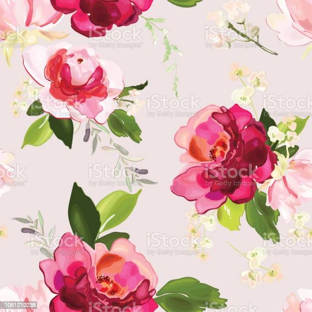Vector seamless pattern with flower and plants in watercolor style vector id1061210238?b=1&k=6&m=1061210238&s=612x612&h=gohkqsm1dkqb7imfu3azvpx0gvqxdkiq5aiyey wkb8=