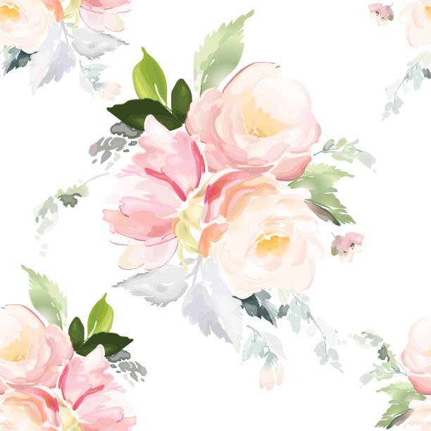 ilustrações de stock, clip art, desenhos animados e ícones de vector seamless pattern with flower and plants in watercolor style. - rosa flor