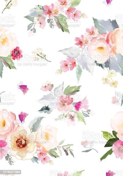 Vector seamless pattern with flower and plants in watercolor style vector id1078032084?b=1&k=6&m=1078032084&s=612x612&h=r4rwe9 jdtdkw2ol1erhyura6b2j hgwpqvaspk cww=
