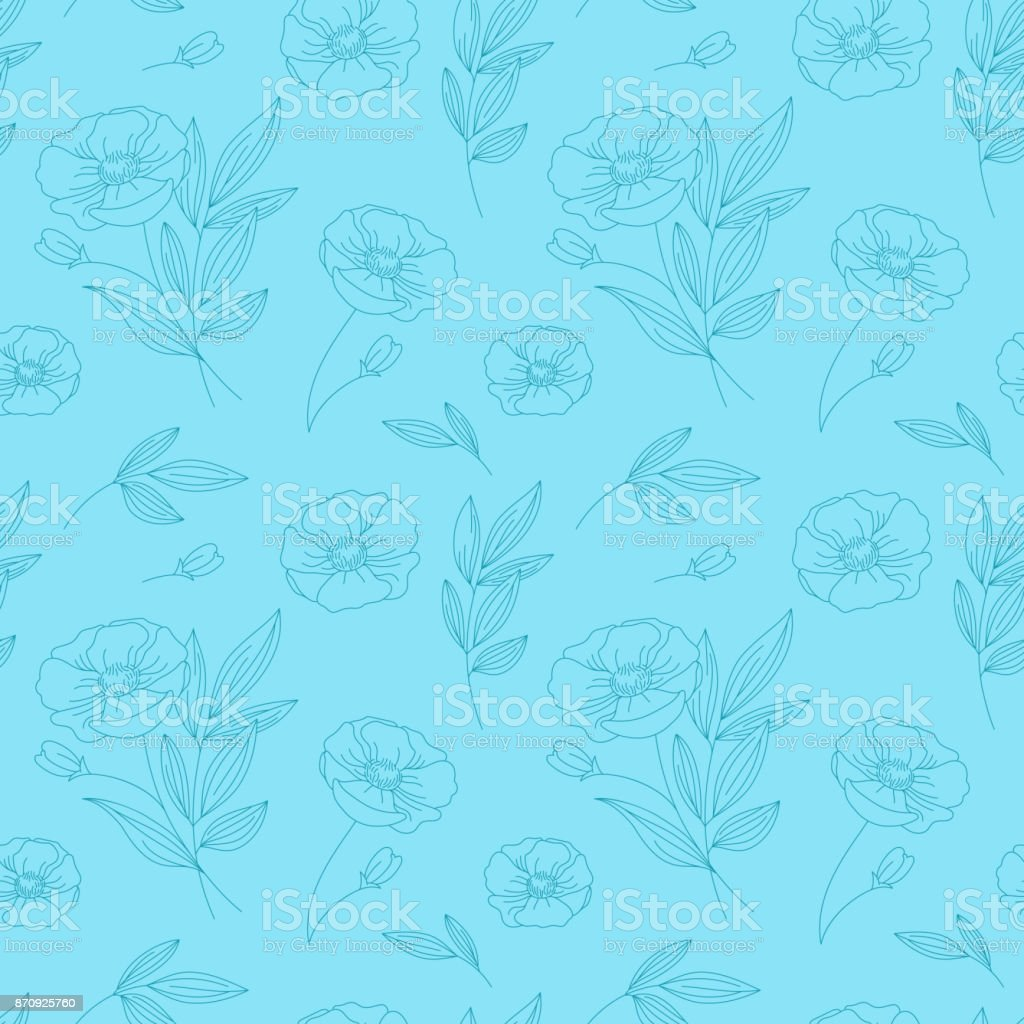 Vector Seamless Pattern With Flowers And Leaves In Linear Style