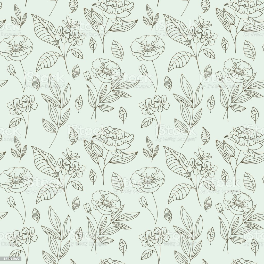 Vector seamless pattern with flowers and leaves in linear style - packaging background or wrapping paper for natural cosmetics vector art illustration