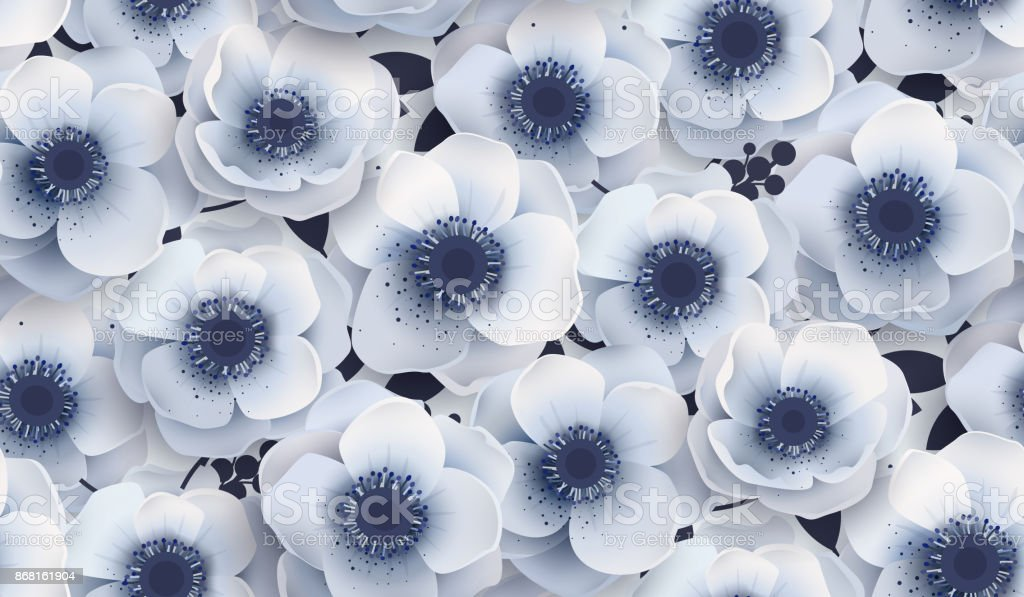 Vector seamless pattern with flowers anemones. royalty-free vector seamless pattern with flowers anemones stock illustration - download image now