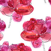 vector seamless pattern with rose flowers, floral background with pink watercolor spots, hand drawn illustration