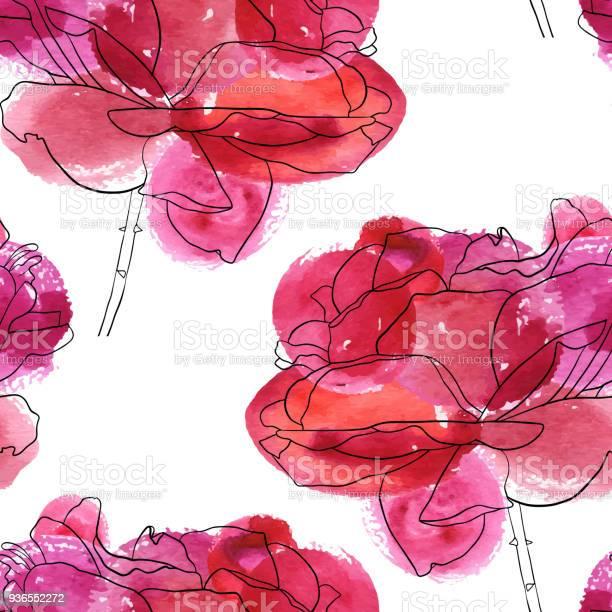 Vector seamless pattern with flowers of rose vector id936552272?b=1&k=6&m=936552272&s=612x612&h=97xvdpfjzovoq8arqvicrmlbo3q7vlvkx9zmbt8xppa=