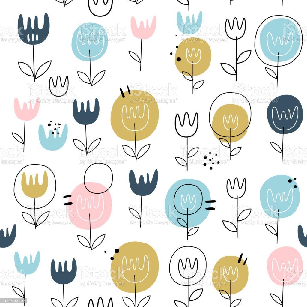 ベクターの花のシームレスなパターン北欧スタイルかわいい花柄