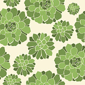 Vector seamless pattern with green flowers