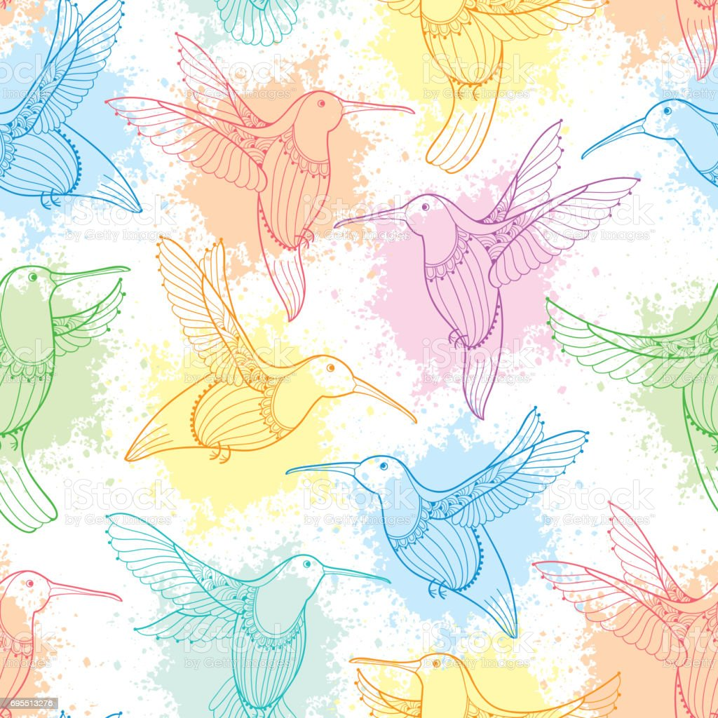 Vector Seamless Pattern With Flying Hummingbird Or Colibri And Pastel Blots On The White Background