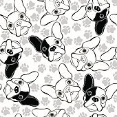 Vector seamless pattern with French Bulldog and traces.