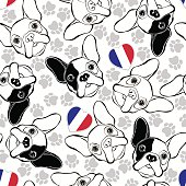 Vector seamless pattern with French Bulldog, traces  and Heart flag.