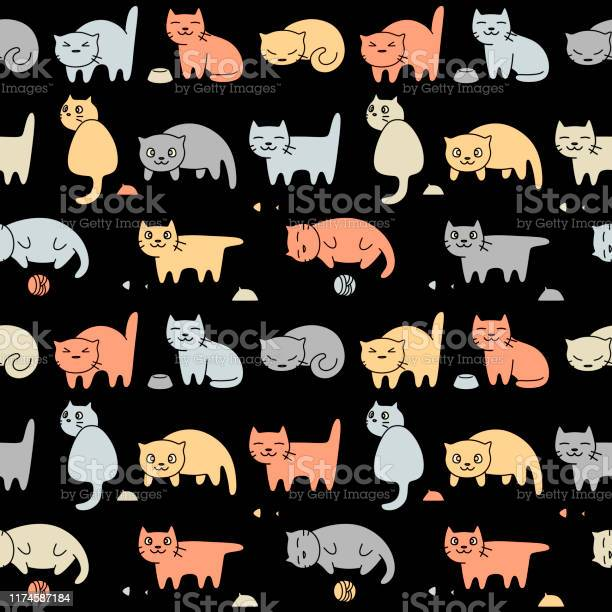 Vector seamless pattern with funny cartoon cats vector id1174587184?b=1&k=6&m=1174587184&s=612x612&h=mjccv7uw4o0b3kstfj7bgsuonfhahkn7eqexymzxfaw=