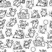 Vector seamless pattern with funny happy hand drawn mice characters isolated on white background. Comic style. 2020 year mascot illustration in different poses. For packaging design, banner, kid print