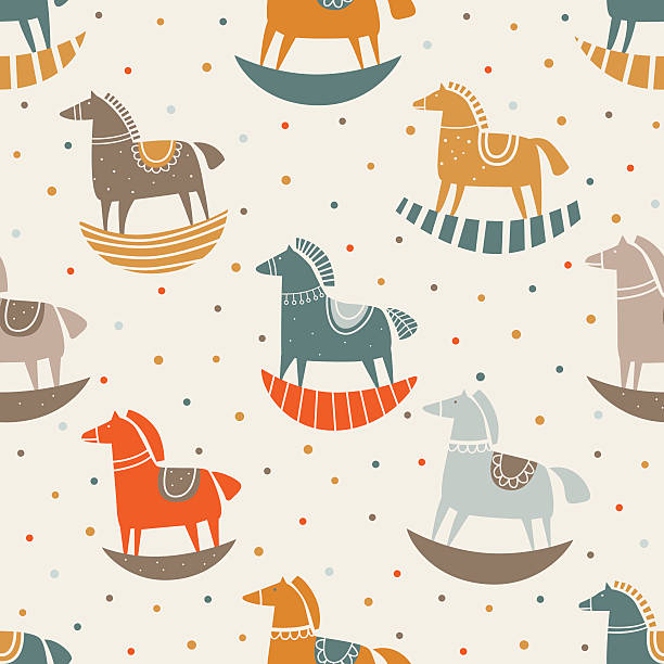 vector seamless pattern with funny wood horse in pastel colors - pferdeschweif stock-grafiken, -clipart, -cartoons und -symbole