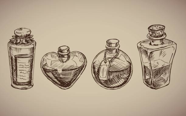 Vector seamless pattern with glass flasks. Vector seamless pattern with glass flasks. Magic potions: tubes and bottles. Titled illustration. Science lab doodle style sketch, Magical elements. Alchemy and vintage science. drawing of a glass liquor flask stock illustrations