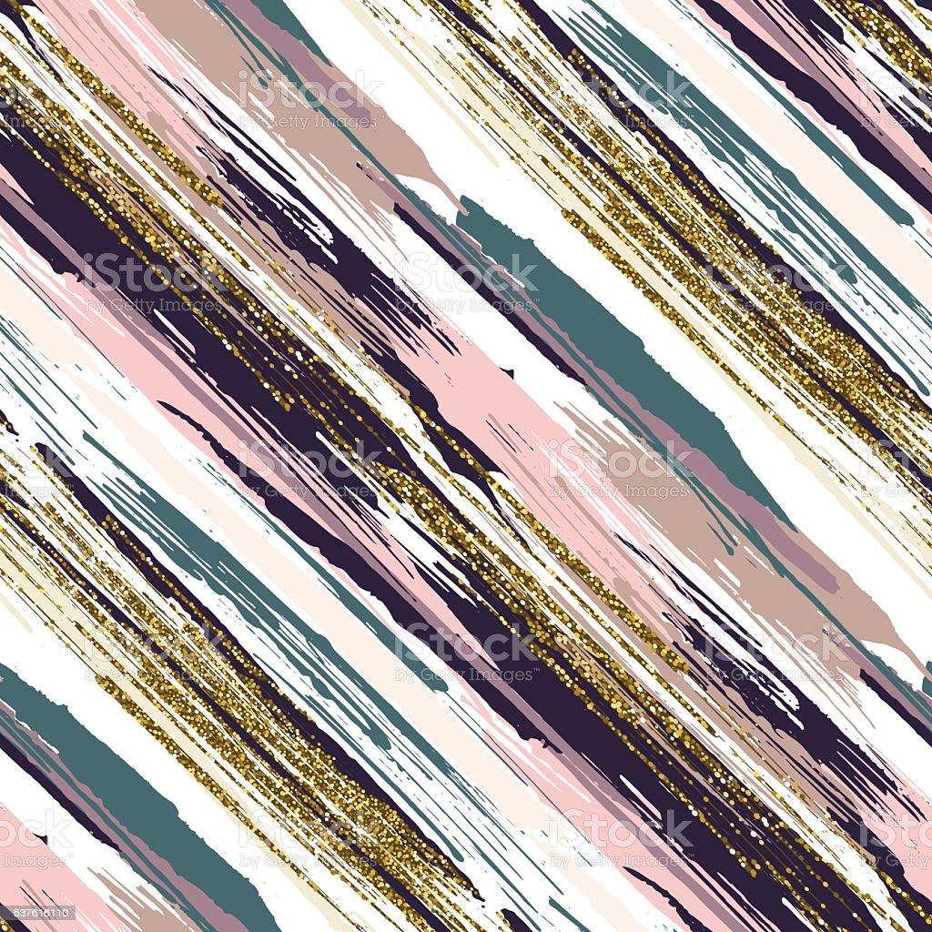 Vector seamless pattern with gold glitter textured brush strokes vector art illustration